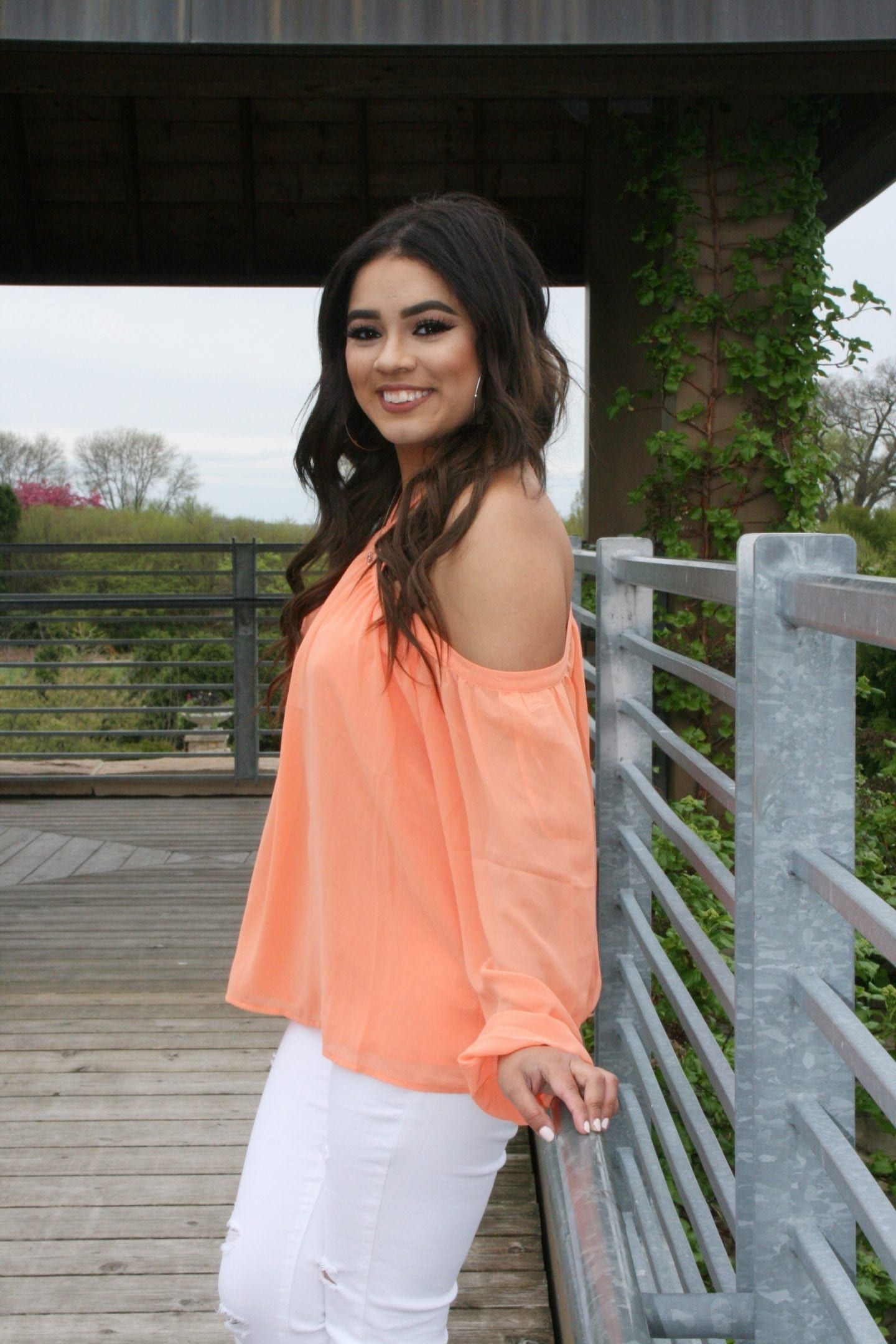 Vibrant Coral Off Shoulder Top