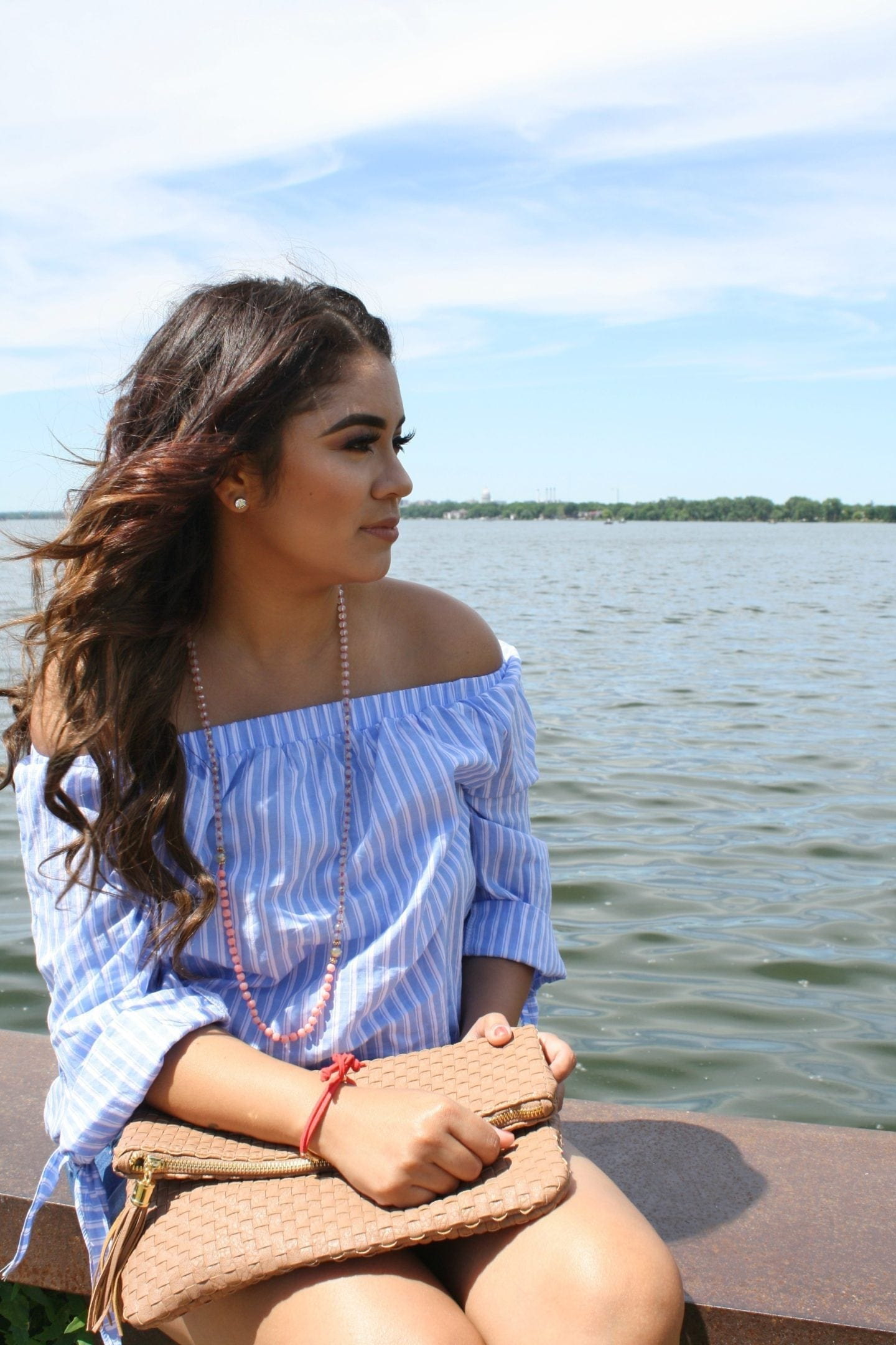 Striped Off Shoulder Tie Cuff Blouse