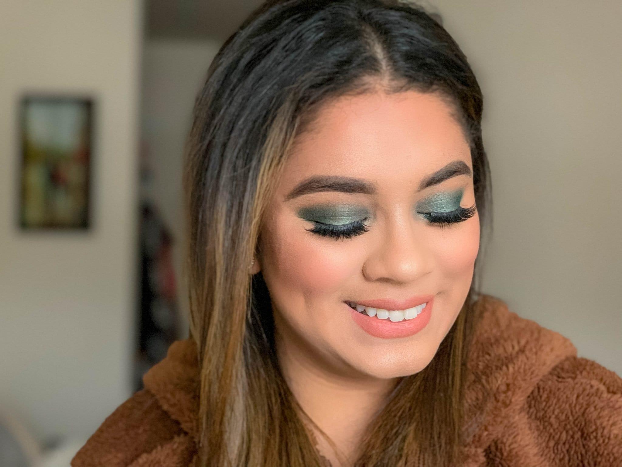 Green Eye Makeup Look for Christmas