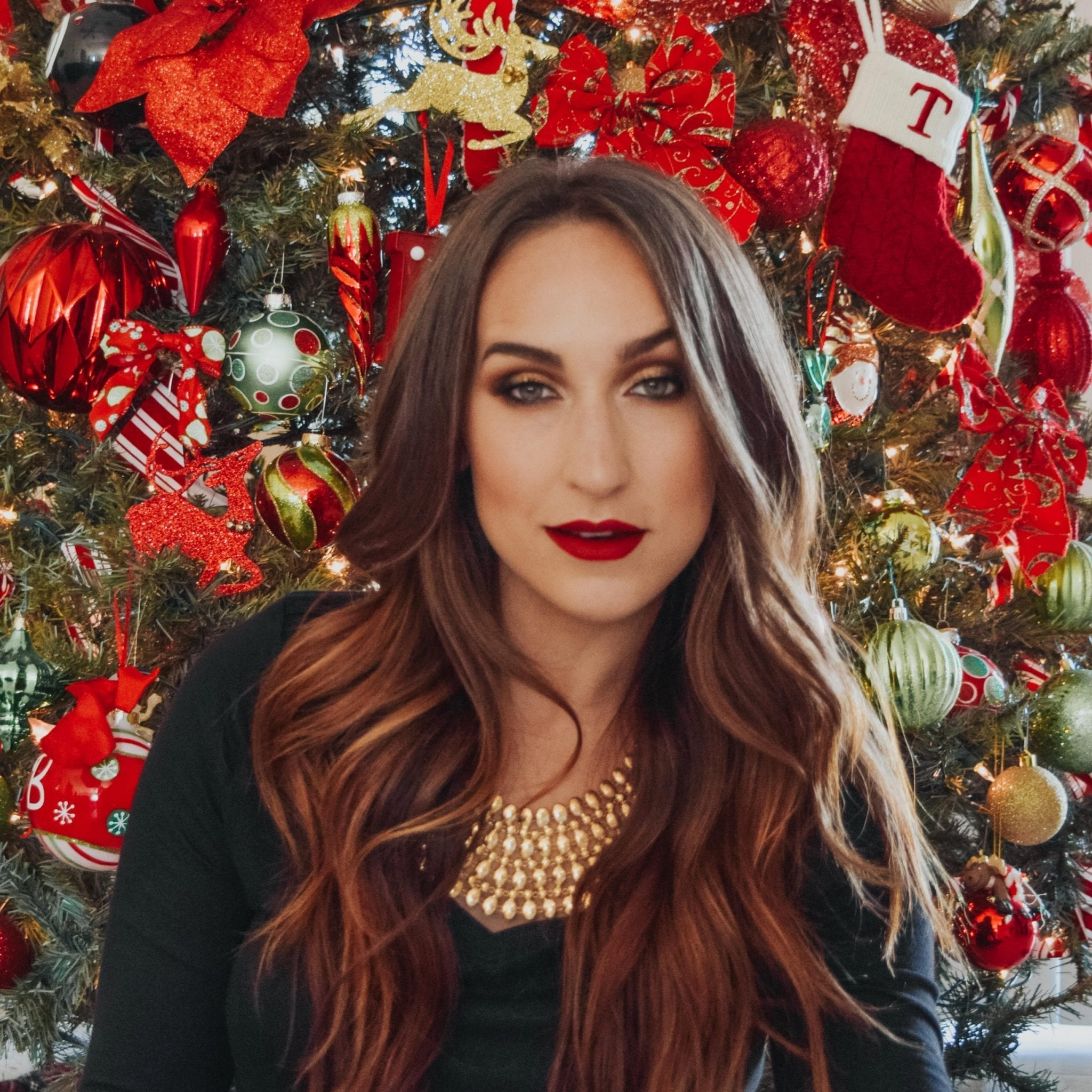 Red Lipstick Holiday Glam