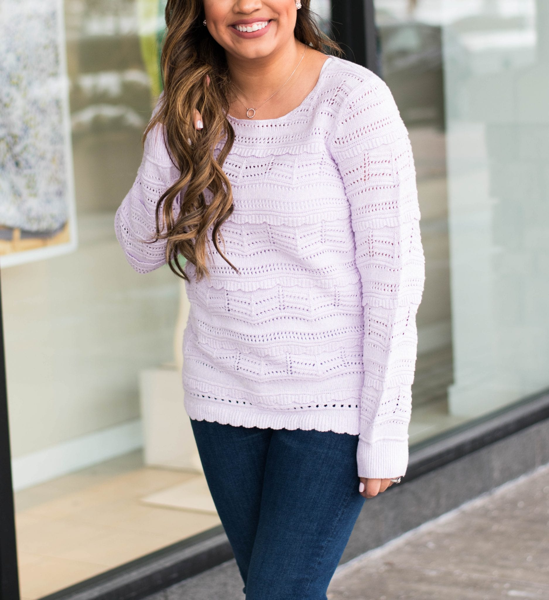 Lilac Ruffle Sweater