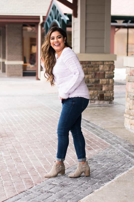 Lilac Pointelle Sweater